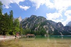 Lago Braies - dolomia, Italia Fotografie Stock Libere da Diritti