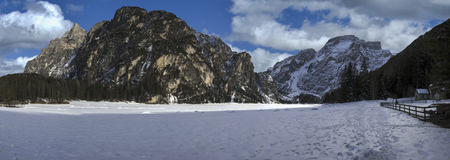 Lago Braies, dolomia - Italia Immagine Stock Libera da Diritti