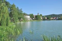 Lago Burgsee, Salzungen mau, Thuringia, Alemanha foto de stock royalty free