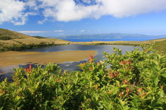 Lago Caiado nos Açores imagem de stock