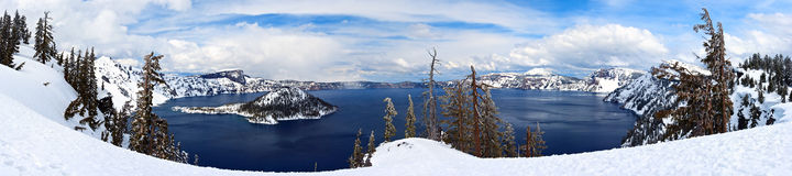 Lago Caldera no parque nacional do lago crater, Oregon, EUA Fotografia de Stock