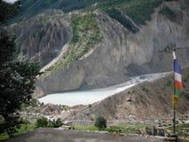 Lago cerca de Manang, Himalaya glacier de Annapurna Imágenes de archivo libres de regalías