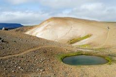Lago cerca del cráter de Viti, al norte de Islandia imágenes de archivo libres de regalías