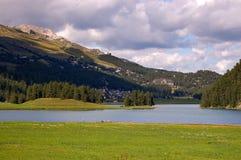 Lago Champfer - Engadine Svizzera Fotografia Stock