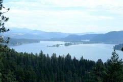 Lago Chatcolet no lago Coeur d 'Alene com St Joe River fotografia de stock