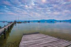 Lago Chiemsee al crepuscolo Fotografia Stock Libera da Diritti