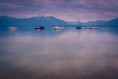 Lago Chiemsee al crepuscolo Immagine Stock Libera da Diritti