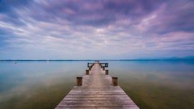 Lago Chiemsee al crepuscolo Fotografie Stock Libere da Diritti