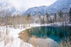 Lago Christlessee en invierno en el valle del trettach cerca de oberstdorf fotografía de archivo