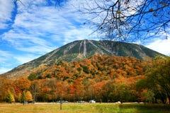 Lago Chuzenji com as folhas de outono em Nikko imagens de stock royalty free