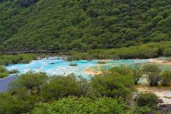 Lago colorido do parque nacional do vale de Jiuzhai Fotos de Stock