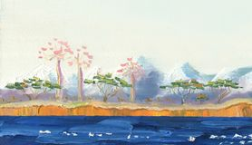 Lago com as árvores tropicais na costa ilustração stock