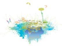 Lago com flor 02 Ilustração Stock