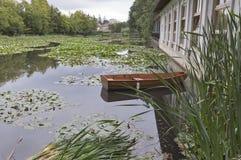 Lago com os lírios de água no parque de Tivoli ljubljana Fotos de Stock