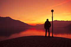 Lago Como al tramonto Fotografia Stock Libera da Diritti
