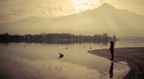 Lago Como al tramonto Immagine Stock Libera da Diritti