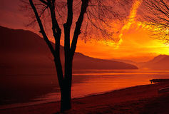 Lago Como al tramonto Immagini Stock Libere da Diritti