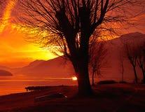 Lago Como al tramonto Fotografie Stock Libere da Diritti
