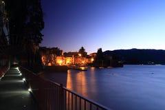 Lago Como alla notte Fotografia Stock