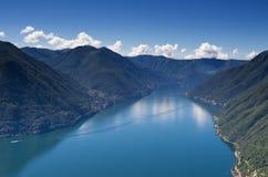 Lago Como come Sen dal punto di vista Pigra Fotografie Stock