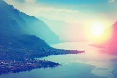Lago Como ed alpi, Italia Immagine Stock