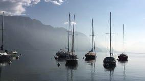 Lago Como Italia Barcos en el lago metrajes