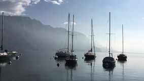 Lago Como L'Italia Barche sul lago stock footage