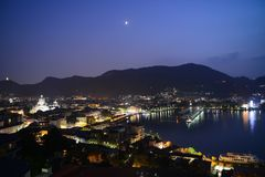 Lago Como na noite foto de stock