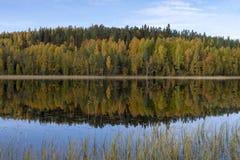 Lago con acqua calma e la riflessione di una foresta colorata autunno, immagine stock libera da diritti