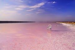 Lago con agua color de rosa y una silla en el agua Imagenes de archivo