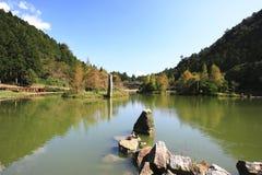 Lago con due anatre contro il cielo blu fotografia stock libera da diritti