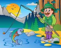 Lago con el pescador 1 de la historieta ilustración del vector