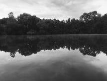 Lago con gli alberi dietro fotografia stock