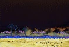 Lago con gli alberi tropicali sulla riva notte royalty illustrazione gratis
