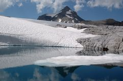 Lago con il ghiacciaio e le rocce della montagna Immagine Stock