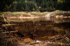 Lago con il pilastro arrugginito rotto Immagine Stock