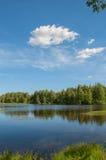 Lago con la riflessione della foresta in acqua Immagine Stock