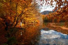 Lago con la riflessione in Yedigoller Immagine Stock Libera da Diritti