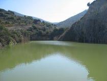 Lago con le anatre nei precedenti fotografia stock