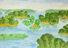 Lago con le isole, dipingenti Fotografia Stock Libera da Diritti