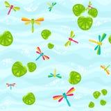 Lago con le libellule e le foglie Illustrazione di Stock