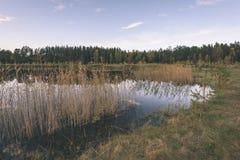 lago con le riflessioni dell'acqua nel effe variopinto dell'annata di giorno di autunno Fotografie Stock