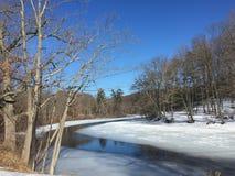 Lago con nieve Fotos de archivo