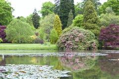 Lago con reflexiones en un jardín formal de la primavera Fotografía de archivo