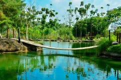 Lago con un puente foto de archivo