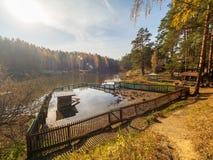 Lago con una pluma para los patos, rodeada por el bosque del otoño imagen de archivo