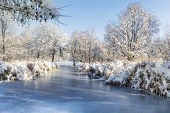 Lago congelado bonito em Sófia, Bulgária Fotos de Stock Royalty Free