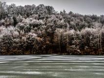 Lago congelado cerca de Belgrado Fotografía de archivo