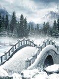 Lago congelado com uma ponte ilustração stock