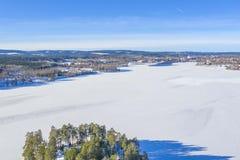 Lago congelado en foto del abejón de Smedjebacken imagen de archivo libre de regalías